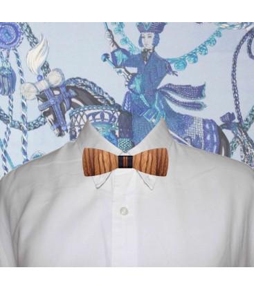 Pajarita Modelo Cornnery, cinta azul marino y raya bronce y cinta bronce para cuello